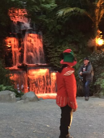 New Plymouth, New Zealand: Elf welcoming the visitors in front of the waterfall