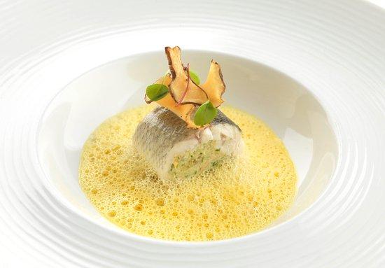 Sleat, UK: Stuffed seabass with butternut sauce & lotus root