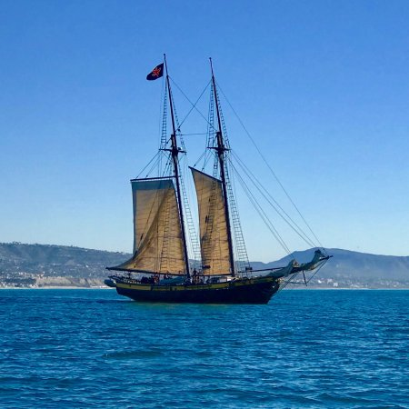 "Дана-Пойнт, Калифорния: OCEAN INSTITUTE's ""Spirit of Dana Point"" sailing outside of the Harbor (1770's schooner Replica)"