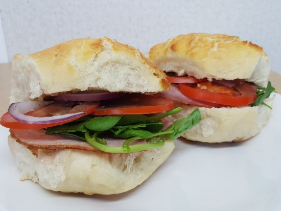 Little Pantry: Gammon Ham, Tomatoe, Red Onion and Watercress, in a tiger roll.