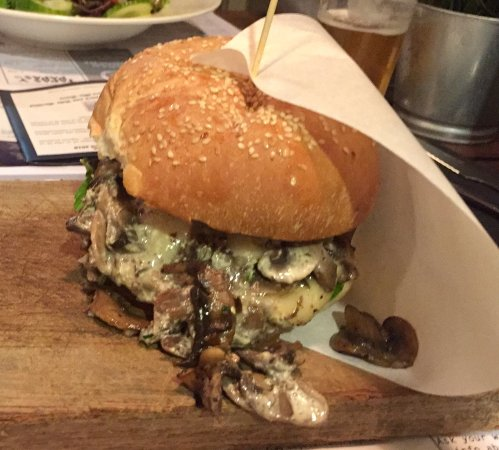 "TABLA Arrecife: Trufa (""Truffle) Burger -- replaced bacon with extra portion of mushrooms"