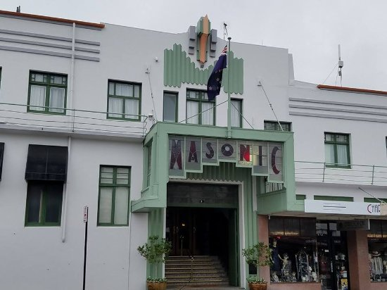 View from communal balcony picture of art deco masonic for Deco hotel napier