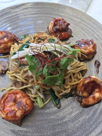 Spago Beverly Hills: Had to rub thickened sauce off the prawns in parts. Noodles were not fresh.