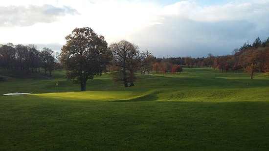 The view from our club house, at Portumna Golf Club, with the sun shining down on the 18th hole.