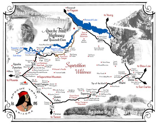 Аризона: Apache Trail Map