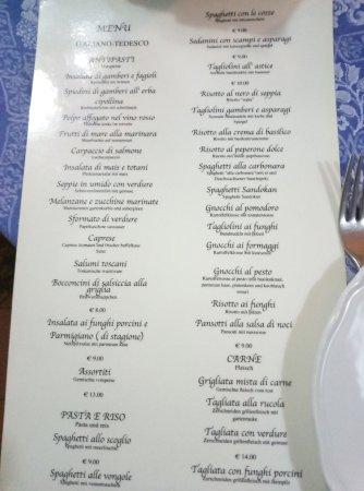 Lo Schiaccianoci: menu
