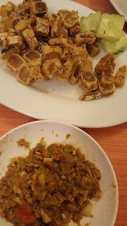Amphone: fermented fish fry with deep fried pig skin.