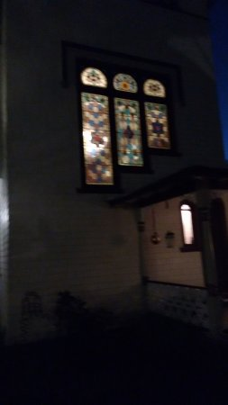 DeLand, FL: Stained glass window night time