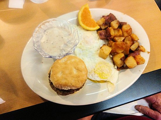 Eggs Up Grill: fried eggs/sausage biscuit