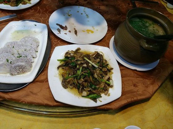 Yangchun, China: (From left) steamed taro, stir fried lamb intestine, lamb congee