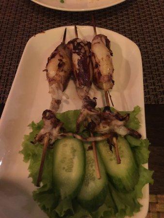 Khmer Grill Restaurant: Squid skewerspork with