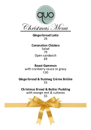 Gillitts, South Africa: Our Christmas Inspired Menu available until 31 December 2017