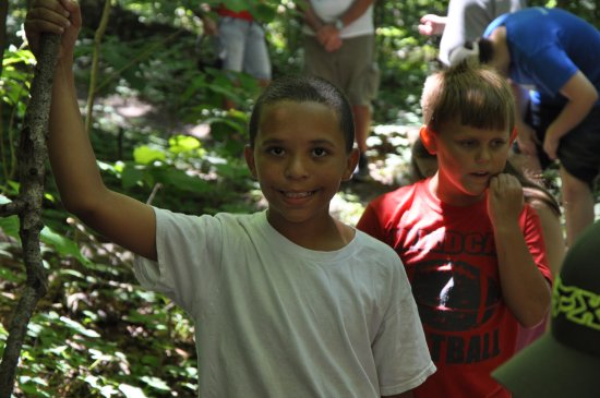 Mammoth Cave, KY: Children participating in a guided hike on the Brier Creek Trail System