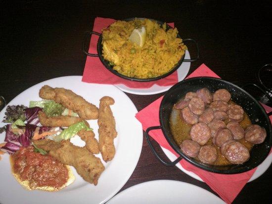 El Torero: Paella, chicken strips with spicy salsa and chorizo sausage