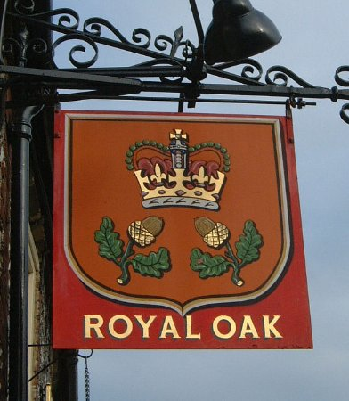 The Royal Oak in River pub sign