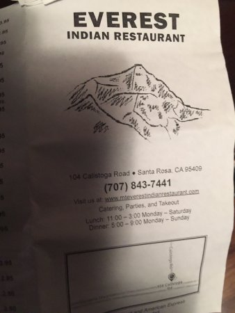 Everest Indian Restaurant Santa Rosa 104 Calistoga Rd Reviews Phone Number Photos Tripadvisor