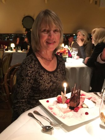 The River Cafe: My sister celebrating a birthday Brooklyn Bridge dessert!
