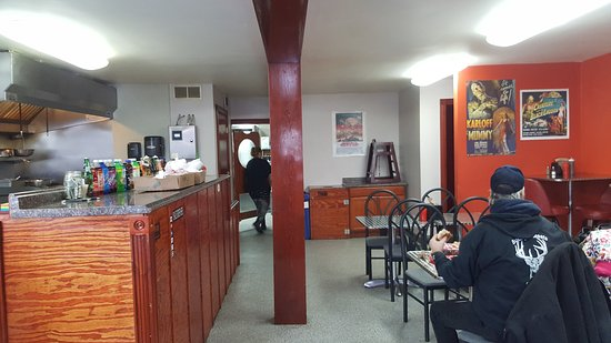 Lewiston, MI: Seating to the right, counter and fryers are on the left