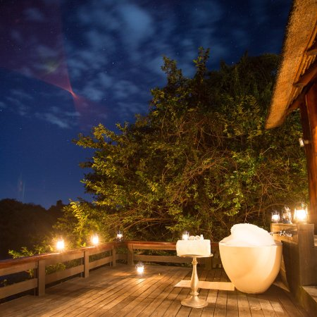 Royal Chundu Luxury Zambezi Lodges: View From My Room Of The Outdoor Bathtub  On Outside