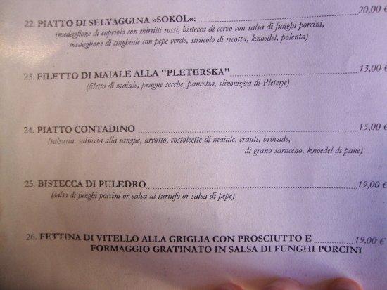 Gostilna Sokol Ljubljana: menu anche in italiano (approssimativo)