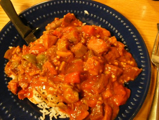 Jestine's Kitchen: Grilled chicken over rice, topped with an awsome sausage gumbo.