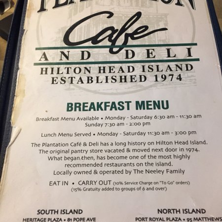Plantation Cafe And Deli Hilton Head Restaurant Reviews Phone