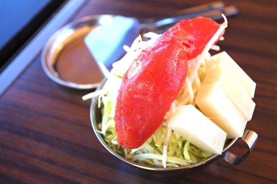 Edomae Kisen, Odaiba Course: 当店人気ナンバーワンの明太子もちもんじゃです★明太子がたまりません~('◇')ゞ