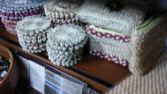 Sunflowers Organic Dye Textile & Crafts Shop: Entrance and inside Sunflowers shop. They arranged elegant and attractive ways in their limited
