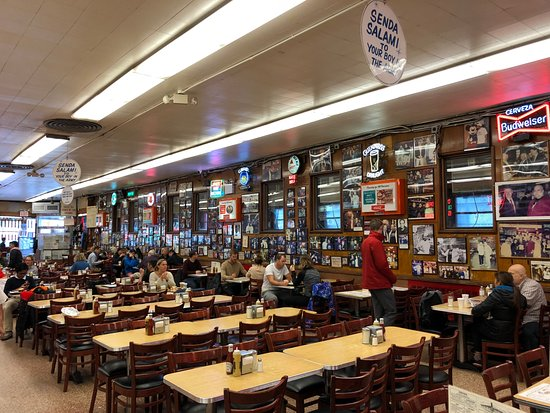 Katz's Deli: interior, tables towards the wall are for table service and others would be for self service