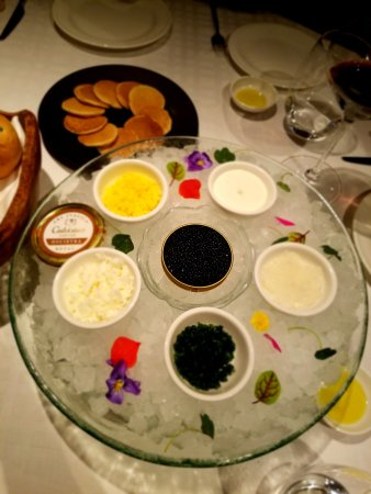 Angelini: Oscietra caviar 50gm with blinis (specially made by the chef)