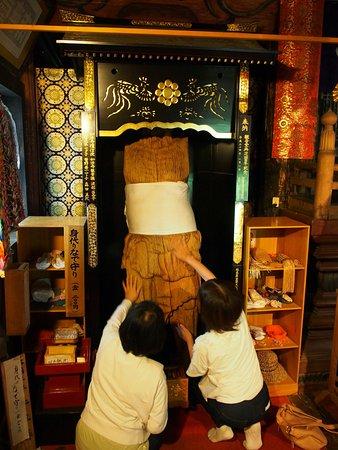 Torioi Kanon Nyohoji Temple: 身代わりなで仏。自分の身体、仏像をなで、厄払いをする。1200年前の作で県重文。