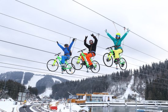 Bukovel, Ukraine: You will not lose your balance even if you let go of your hands. Bike Zip