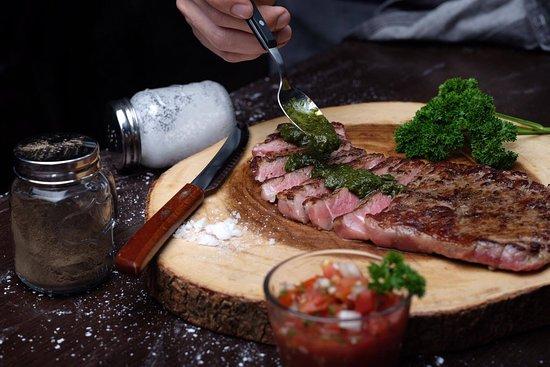 Caveman Base: steak comes with chimichurri