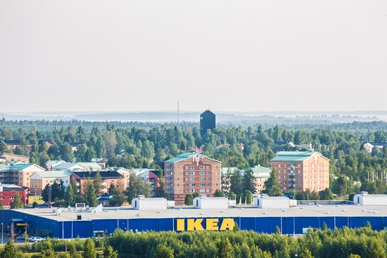 "IKEA in Haparanda with ""Sweden's ugliest church"" in the background. Photo: Linnea Isaksson"