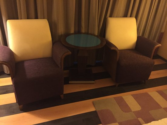 Four Points by Sheraton Le Verdun: Check out the striped wood floor, and the multi coloured furniture.
