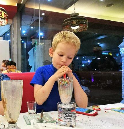 Swensen's: Milkshake overflow.