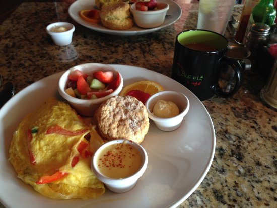 Sage Biscuit Cafe Downtown: My delicious omelet, biscuit, and fresh fruit cup