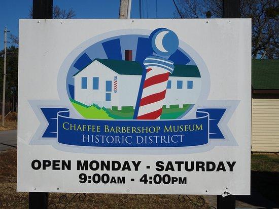 Chaffee Barbershop Museum: museum sign