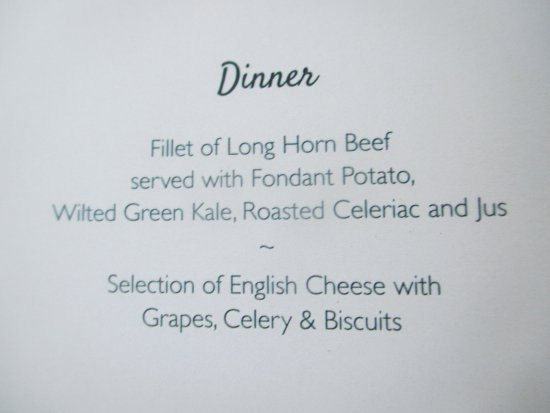 The Steam Dreams Rail Co.: Evening supper menu on return journey