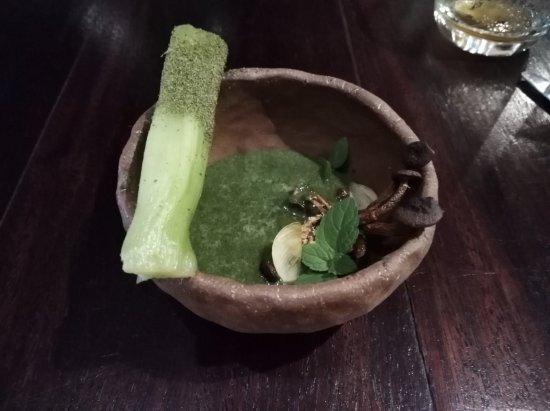 Samuay & Sons: very interesting dish, fried mushroom and chlorophyll