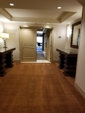 Treasure Island - TI Hotel \u0026 Casino Executive Suite - Hall with double doors leading & Executive Suite - Private Hall leading to double doors of hotel room ...