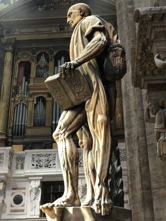 Duomo di Milano: The statue of a flayed St. Bartholomew wearing his skin.