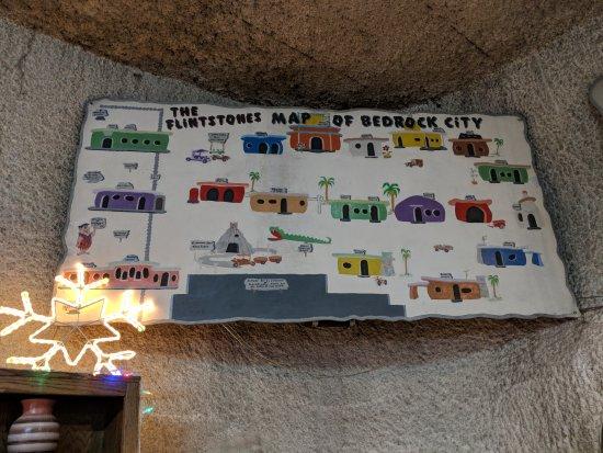 Flintstone's Bedrock City: Map of Bedrock City at the entrance