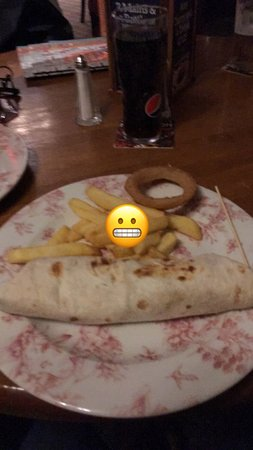 Terrible this was chicken goujons in a wrap,this is how my meal came but I had eaten 1 onion rin