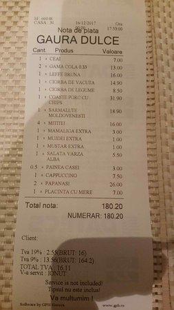 Restaurant Gaura Dulce: счёт