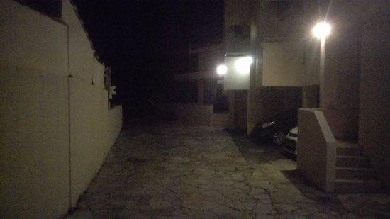 Pyramos Hotel at night