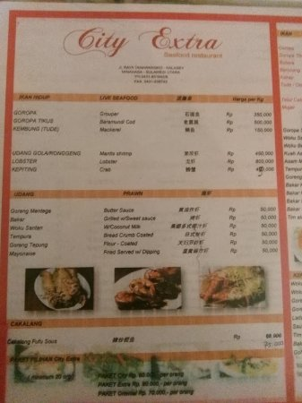 City Extra: Menu makanan dan harga yang ditawarkan