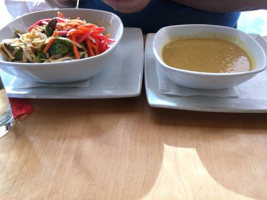 Clarksville, MD: Noodles platter and corn/peas soup