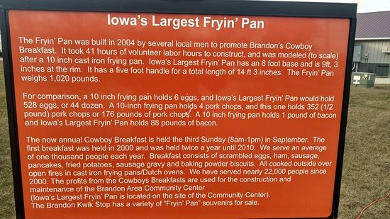 Brandon, IA: World's Largest Frying Pan