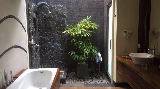 Open Bathroom Area With Outdoor Shower